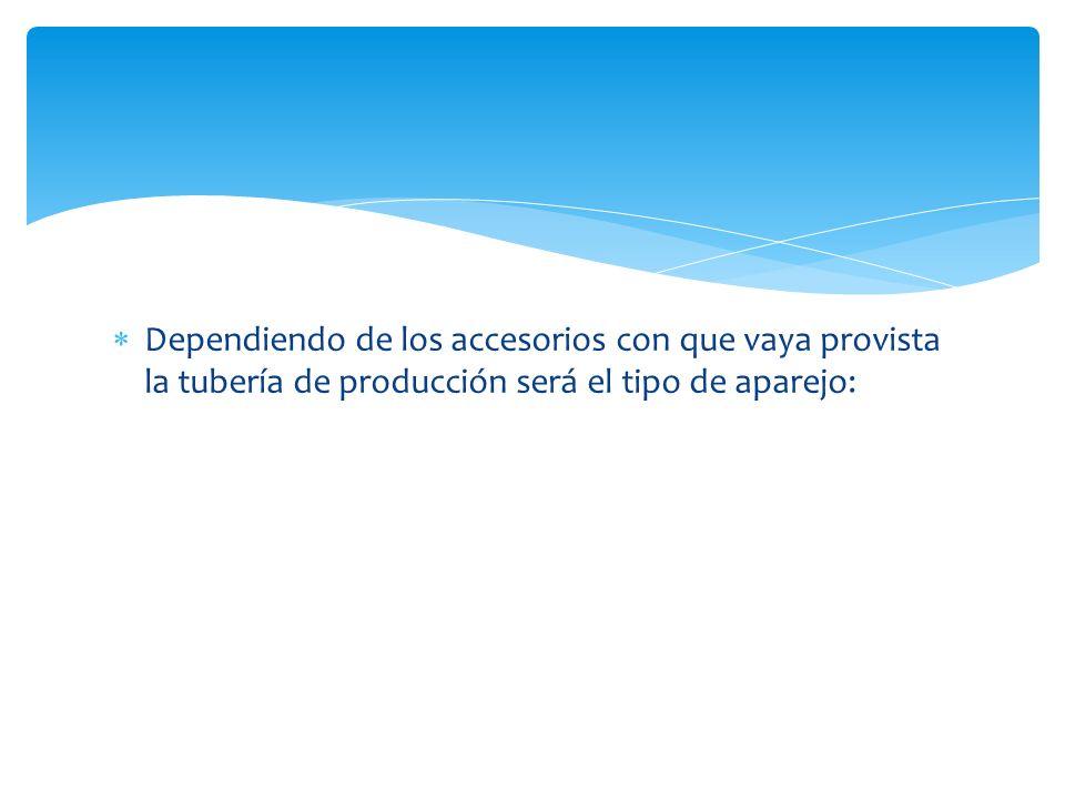 Dependiendo de los accesorios con que vaya provista la tubería de producción será el tipo de aparejo: