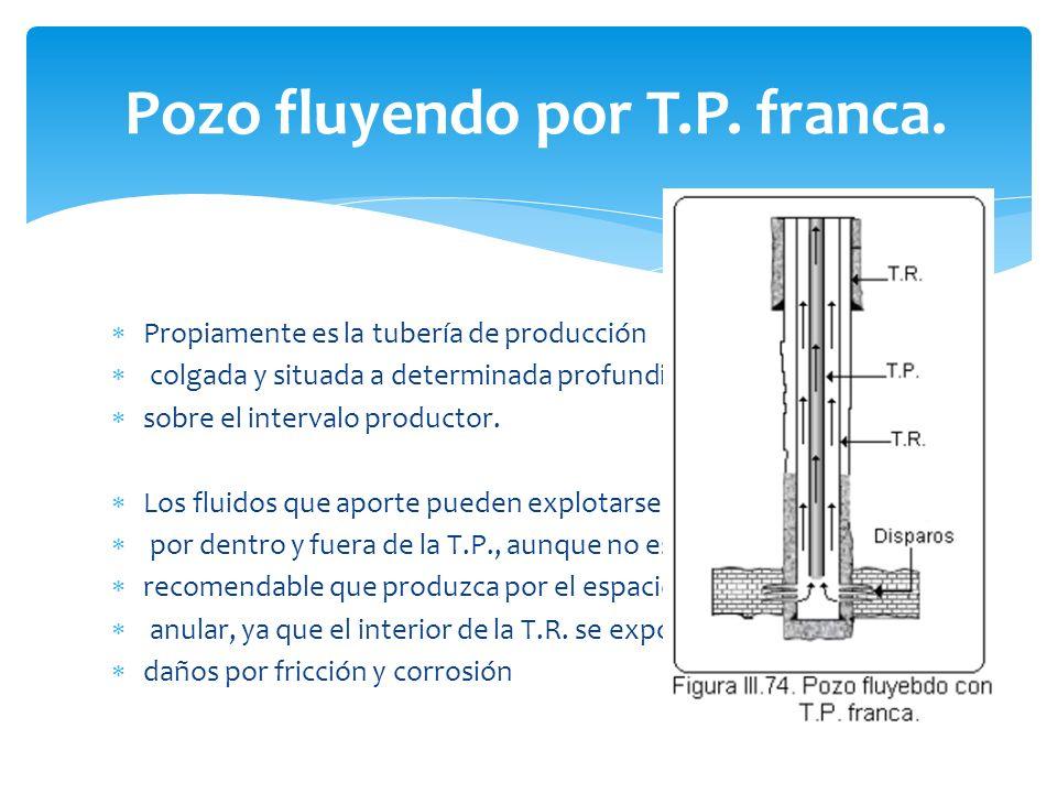Pozo fluyendo por T.P. franca. Propiamente es la tubería de producción colgada y situada a determinada profundidad sobre el intervalo productor. Los f