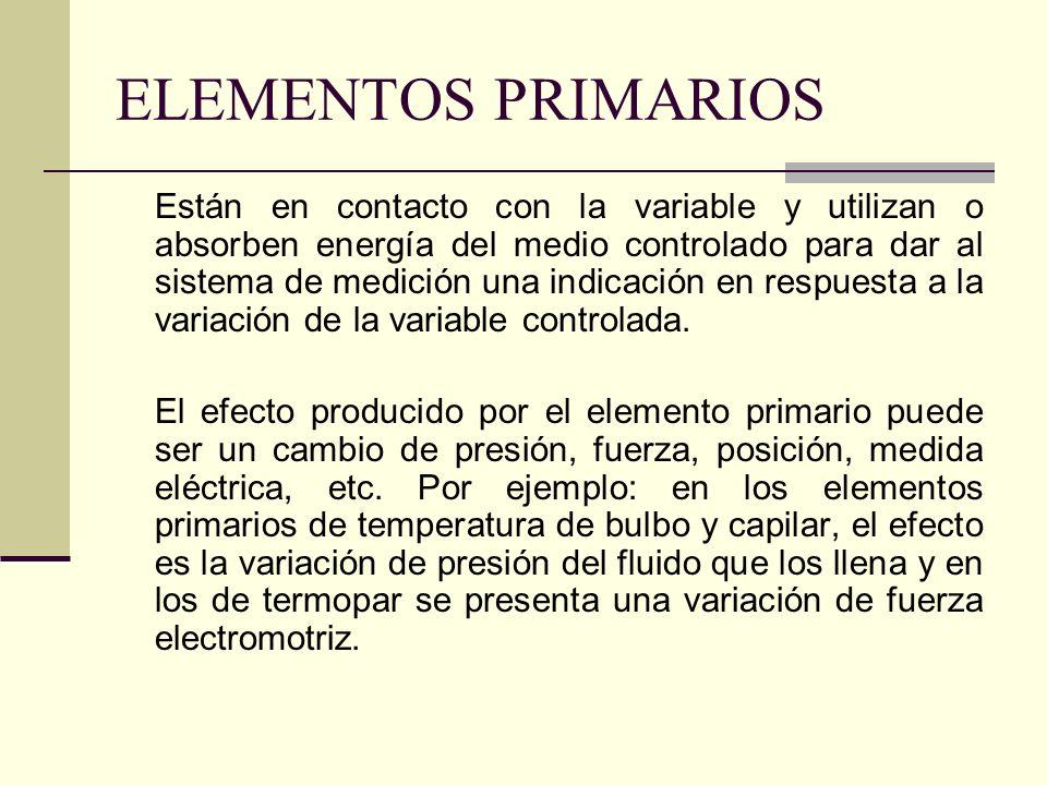 ELEMENTOS PRIMARIOS Están en contacto con la variable y utilizan o absorben energía del medio controlado para dar al sistema de medición una indicació