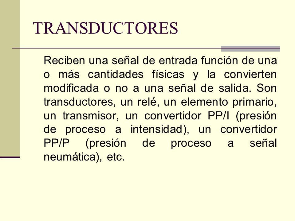 TRANSDUCTORES Reciben una señal de entrada función de una o más cantidades físicas y la convierten modificada o no a una señal de salida. Son transduc