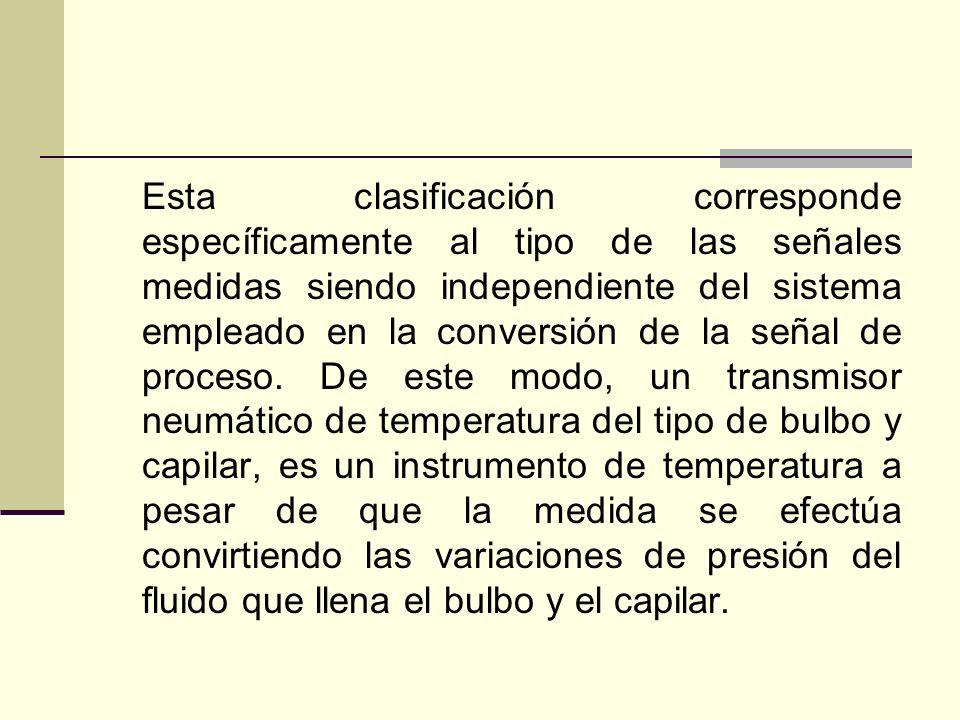 Esta clasificación corresponde específicamente al tipo de las señales medidas siendo independiente del sistema empleado en la conversión de la señal d