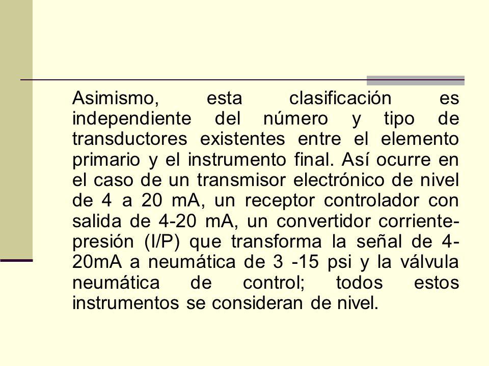 Asimismo, esta clasificación es independiente del número y tipo de transductores existentes entre el elemento primario y el instrumento final. Así ocu
