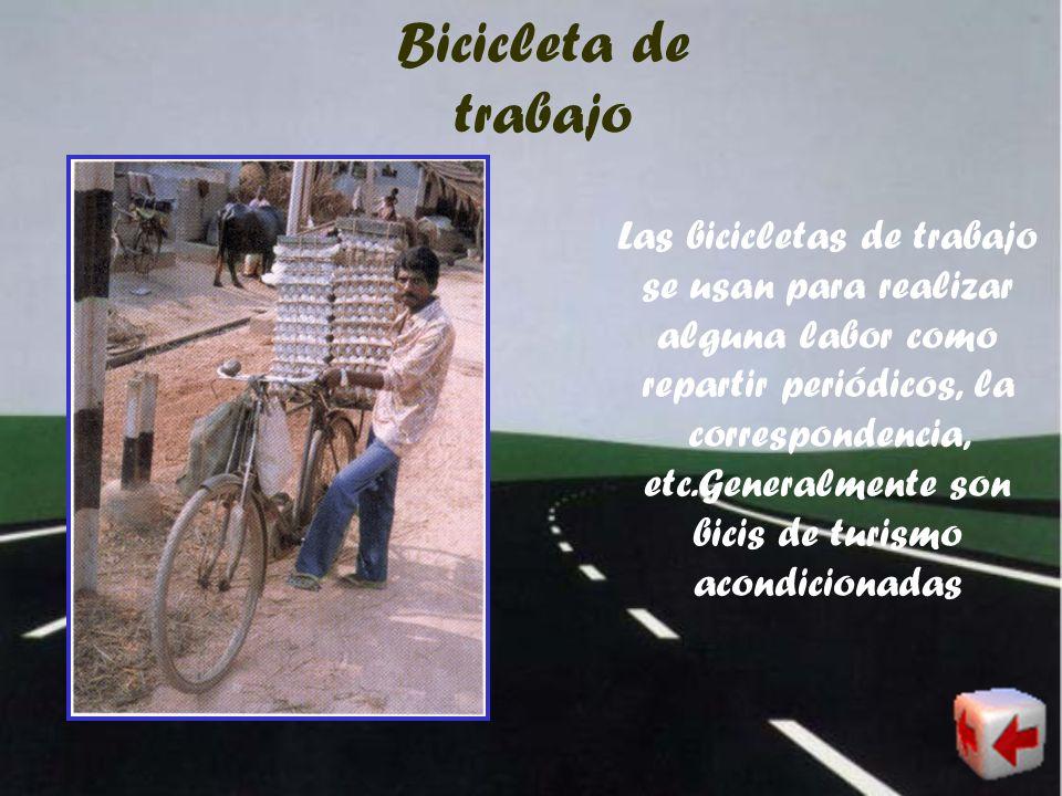 Bicicleta tipo turismo Las bicicletas tipo turismo son utilizadas generalmente como medio de transporte en la ciudad y en el medio rural, por lo gener