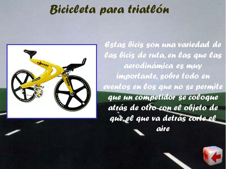 Bicicleta híbrida Estas bicis son por lo general, la combinación de partes de bicis de ruta y de bicis de montaña, por lo tanto son muy usadas por el