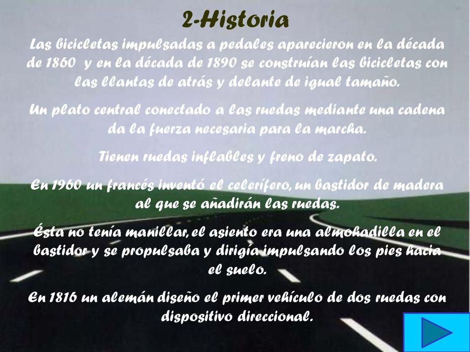 10-Bibliografía http://webs.sinectis.com.ar/mcagliani/hbici.htm- http://www.arrakis.es/~palarra/bicicleta.htm http://www.angelfire.com/mt/xinte/histor