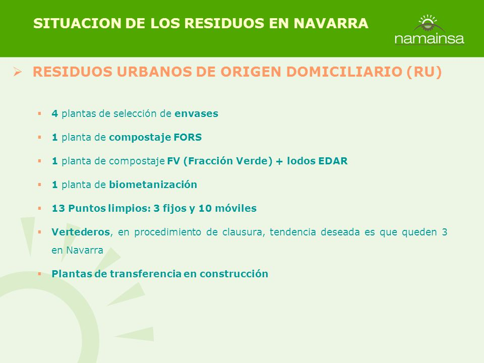 RESIDUOS URBANOS DE ORIGEN DOMICILIARIO (RU) SITUACION DE LOS RESIDUOS EN NAVARRA 4 plantas de selección de envases 1 planta de compostaje FORS 1 plan