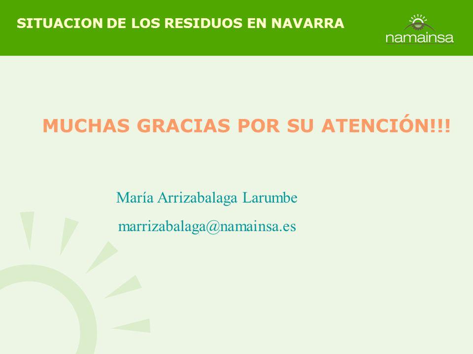 MUCHAS GRACIAS POR SU ATENCIÓN!!! SITUACION DE LOS RESIDUOS EN NAVARRA María Arrizabalaga Larumbe marrizabalaga@namainsa.es