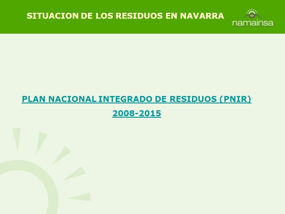 PLAN NACIONAL INTEGRADO DE RESIDUOS (PNIR) 2008-2015 SITUACION DE LOS RESIDUOS EN NAVARRA