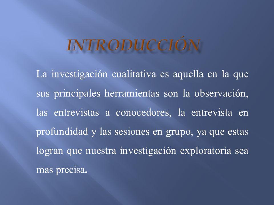 La investigación cualitativa es aquella en la que sus principales herramientas son la observación, las entrevistas a conocedores, la entrevista en pro