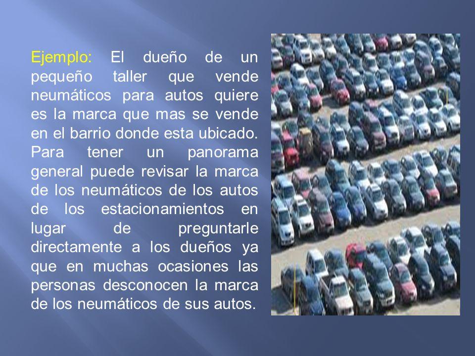 Ejemplo: El dueño de un pequeño taller que vende neumáticos para autos quiere es la marca que mas se vende en el barrio donde esta ubicado. Para tener