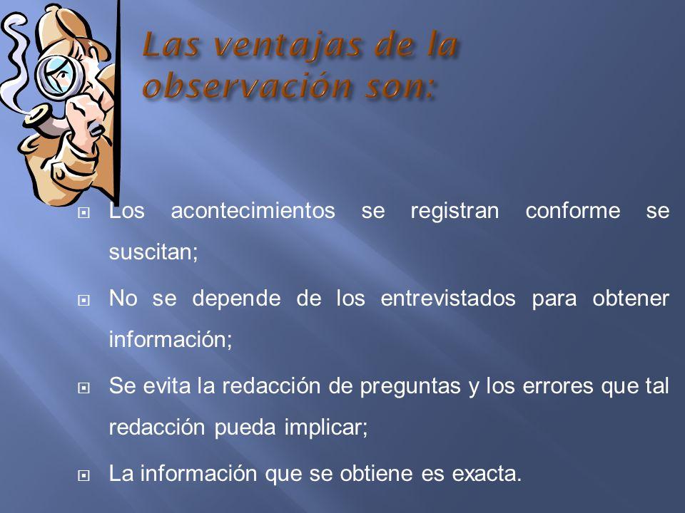 Los acontecimientos se registran conforme se suscitan; No se depende de los entrevistados para obtener información; Se evita la redacción de preguntas