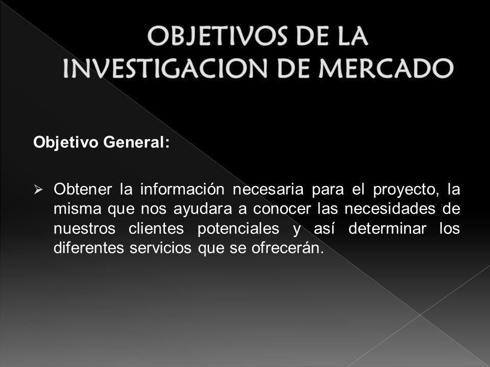 Objetivo General: Obtener la información necesaria para el proyecto, la misma que nos ayudara a conocer las necesidades de nuestros clientes potencial