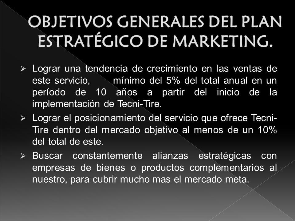 Lograr una tendencia de crecimiento en las ventas de este servicio, mínimo del 5% del total anual en un período de 10 años a partir del inicio de la implementación de Tecni-Tire.