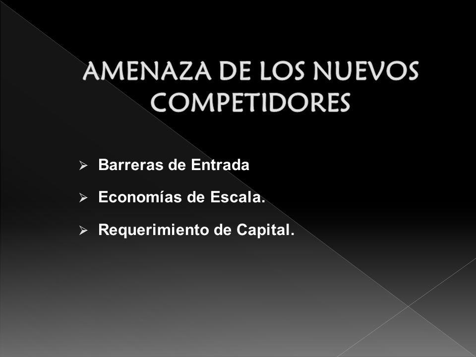 Barreras de Entrada Economías de Escala. Requerimiento de Capital.