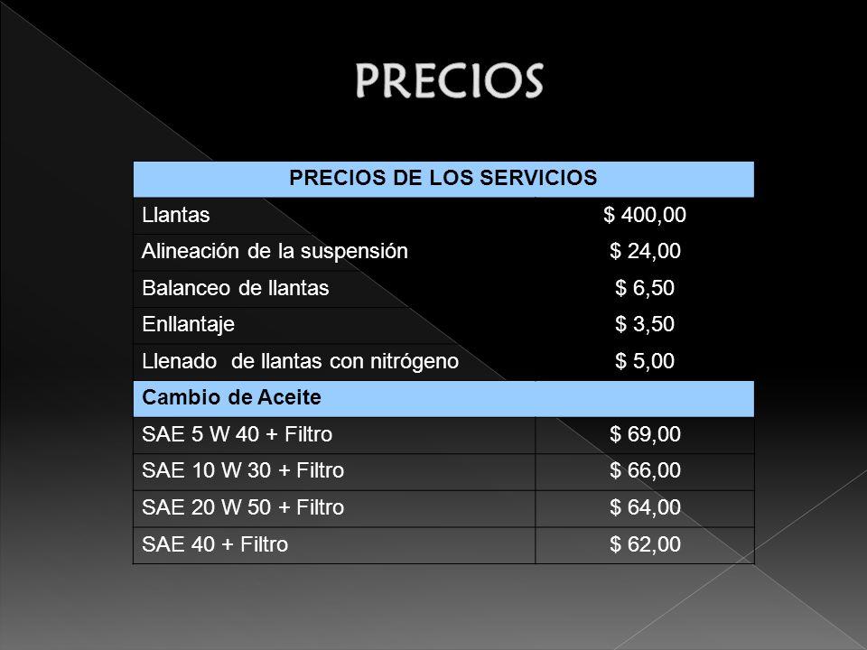 PRECIOS DE LOS SERVICIOS Llantas$ 400,00 Alineación de la suspensión$ 24,00 Balanceo de llantas$ 6,50 Enllantaje$ 3,50 Llenado de llantas con nitrógeno$ 5,00 Cambio de Aceite SAE 5 W 40 + Filtro$ 69,00 SAE 10 W 30 + Filtro$ 66,00 SAE 20 W 50 + Filtro$ 64,00 SAE 40 + Filtro$ 62,00