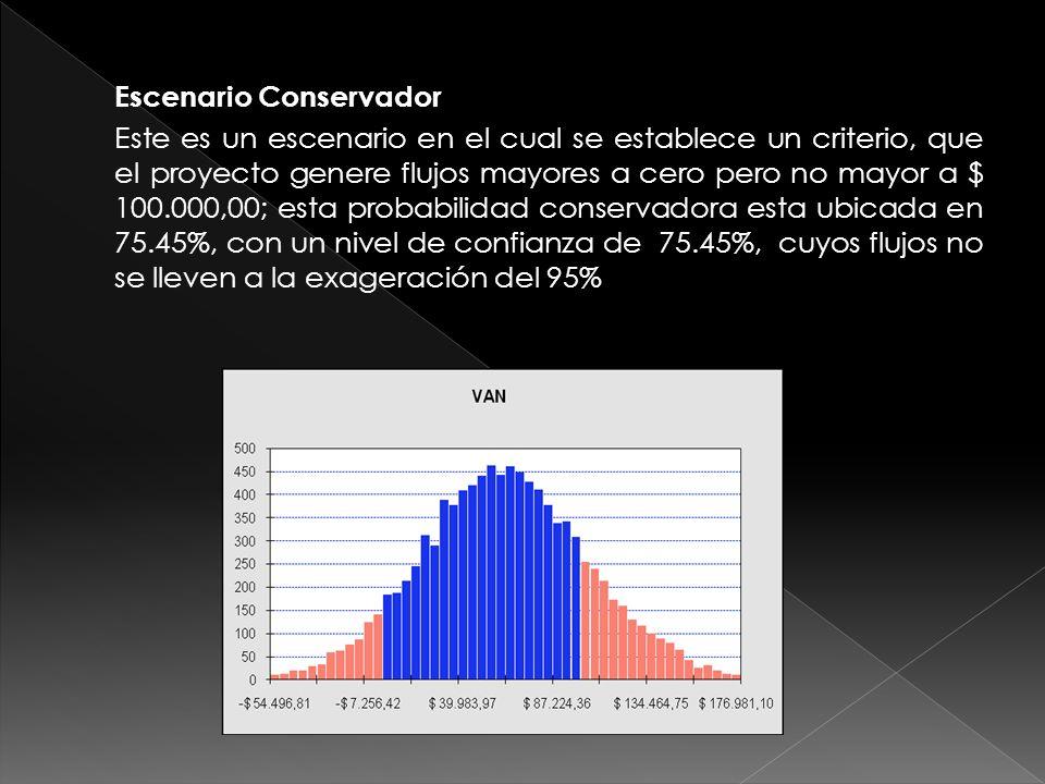Escenario Conservador Este es un escenario en el cual se establece un criterio, que el proyecto genere flujos mayores a cero pero no mayor a $ 100.000