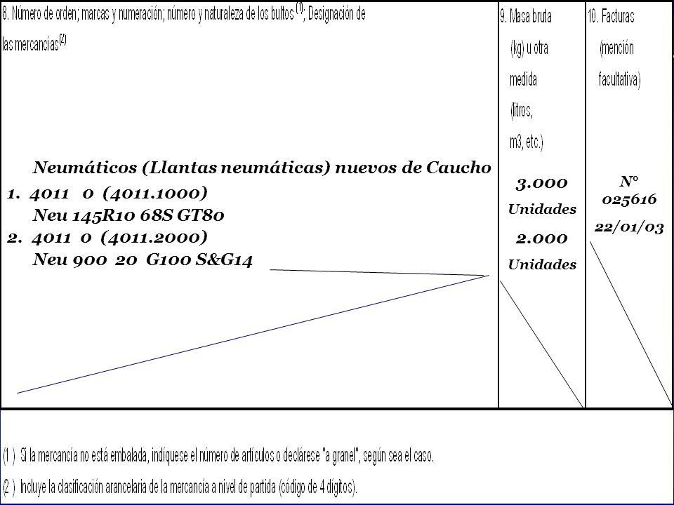 SOFOFA Neumáticos (Llantas neumáticas) nuevos de Caucho 1. 4011 0 (4011.1000) Neu 145R10 68S GT80 2. 4011 0 (4011.2000) Neu 900 20 G100 S&G14 3.000 Un