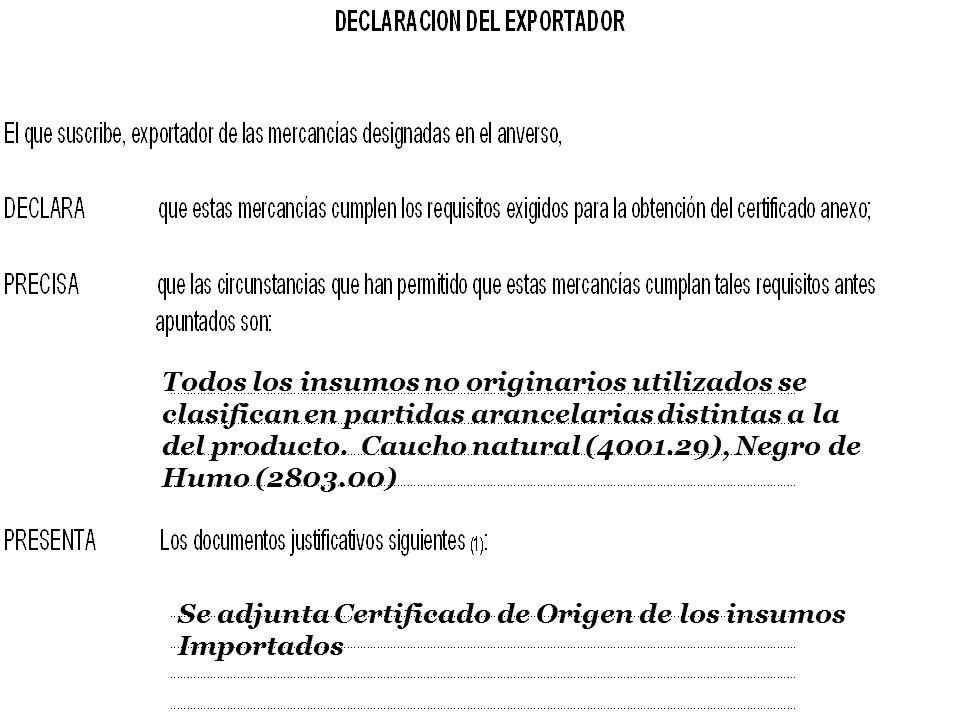 SOFOFA Todos los insumos no originarios utilizados se clasifican en partidas arancelarias distintas a la del producto. Caucho natural (4001.29), Negro