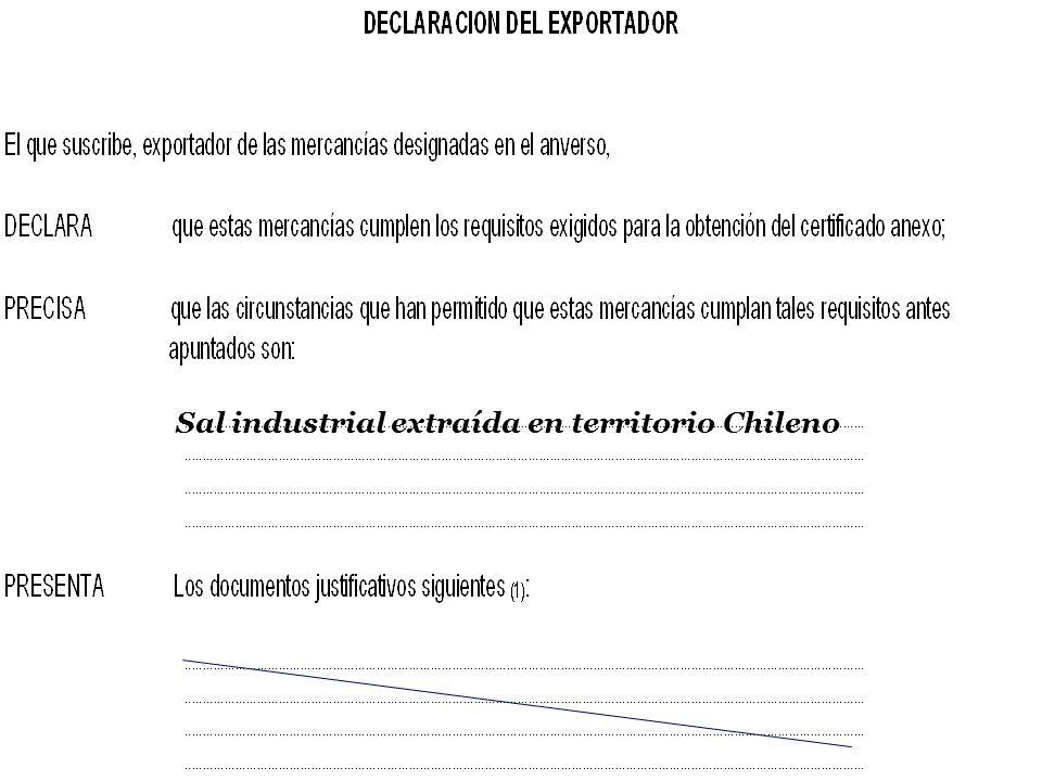 SOFOFA Sal industrial extraída en territorio Chileno