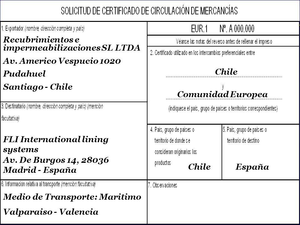 SOFOFA Exportador: Methanex Chile Limited Importador: Methanex (UK) Limited País Destino: United Kingdom Factura: N°01653 del 4 de enero de 2003 Cantidad: 13.000 Toneladas Métricas Producto: Methanol Código Arancelario: 2905.1100 Fecha de Embarque: Sábado 8 de febrero de 2003 Certificado de Origen EUR1