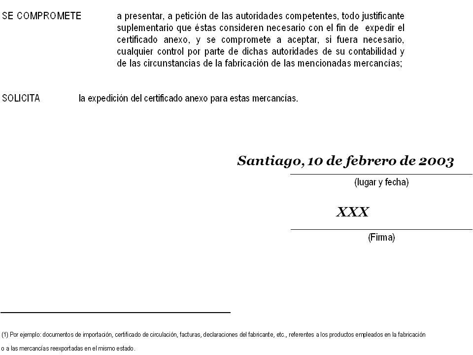 SOFOFA Santiago, 10 de febrero de 2003 XXX