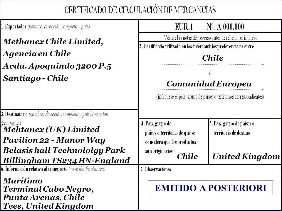 SOFOFA Methanex Chile Limited, Agencia en Chile Avda.