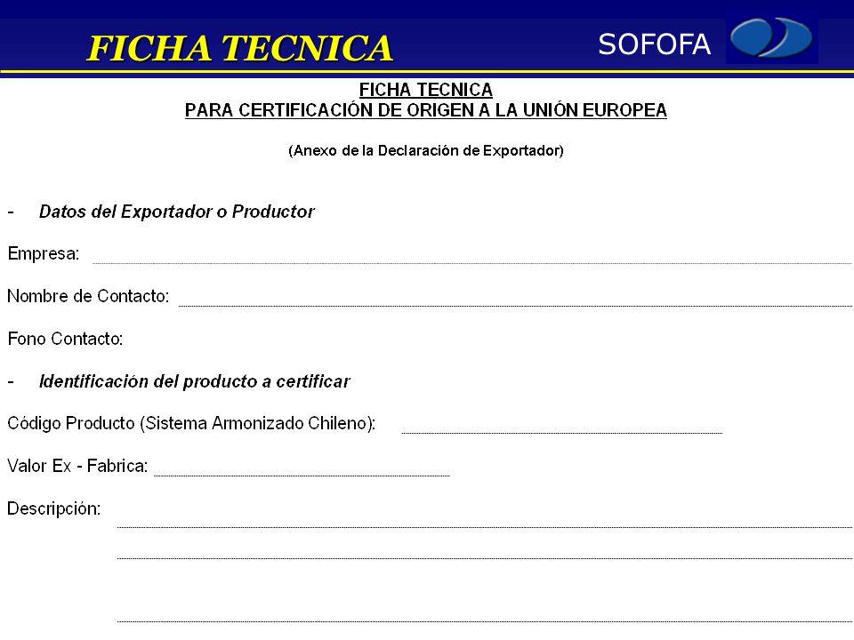 SOFOFA FICHA TECNICA