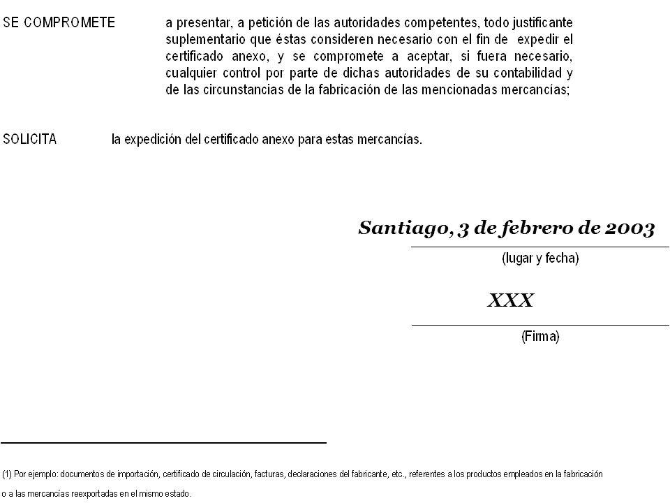 SOFOFA Santiago, 3 de febrero de 2003 XXX