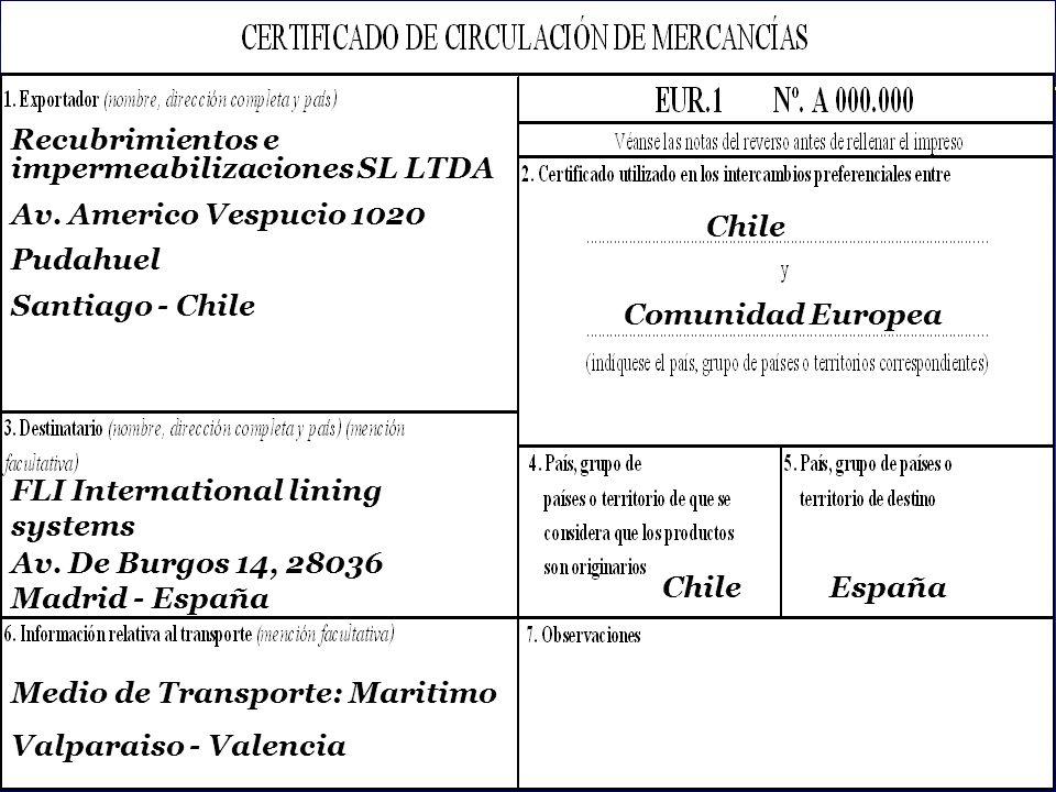 SOFOFA Recubrimientos e impermeabilizaciones SL LTDA Av. Americo Vespucio 1020 Pudahuel Santiago - Chile Chile FLI International lining systems Av. De