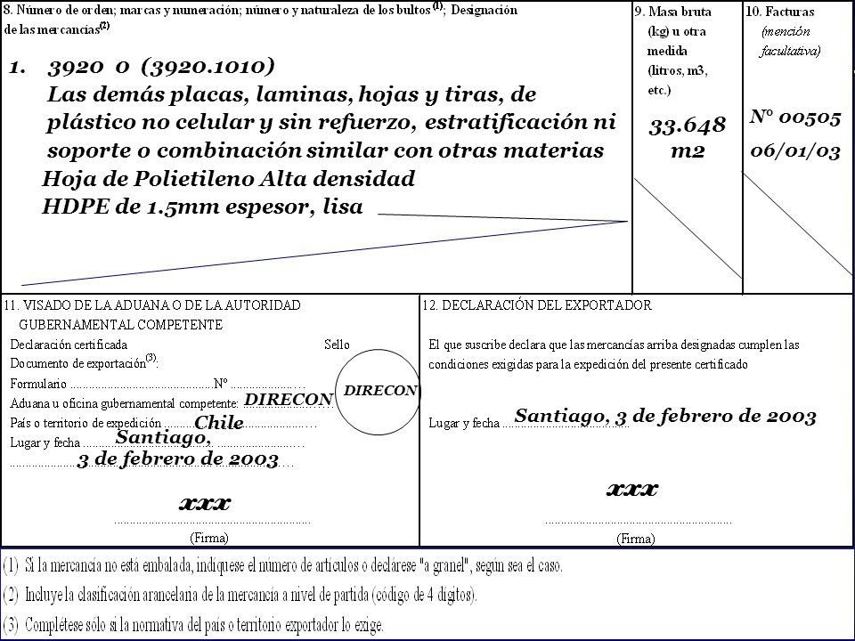SOFOFA Dirección General de Relaciones Económicas Internacionales Chile Valencia, 03 de marzo de 2003 XXX Aduana España x Valencia, 15 de marzo de 2003 XXX Aduana España
