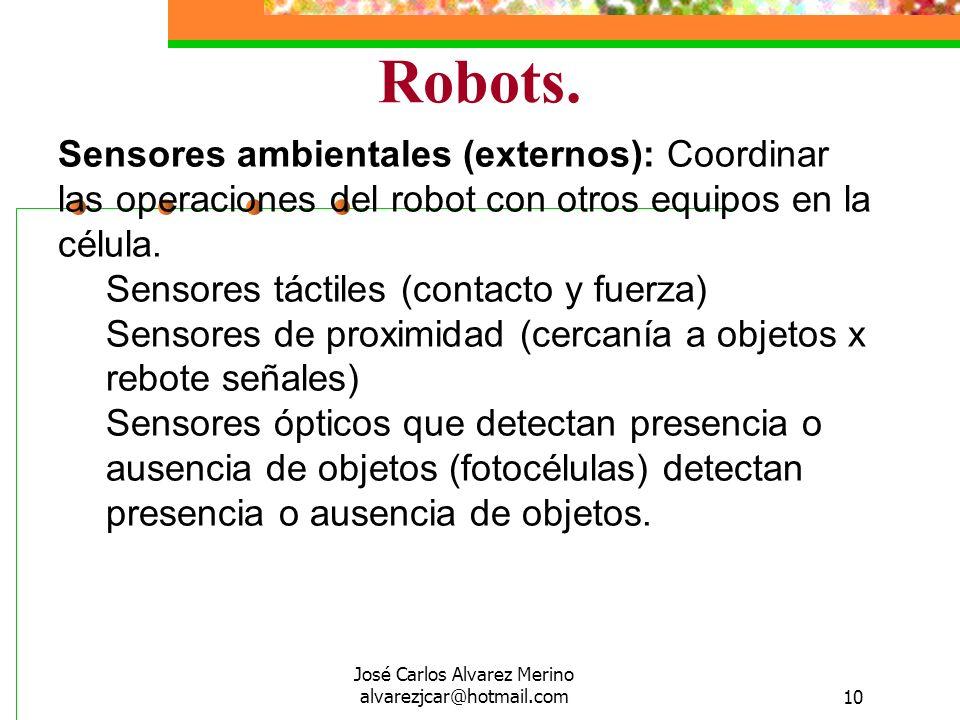 José Carlos Alvarez Merino alvarezjcar@hotmail.com10 Robots. Sensores ambientales (externos): Coordinar las operaciones del robot con otros equipos en