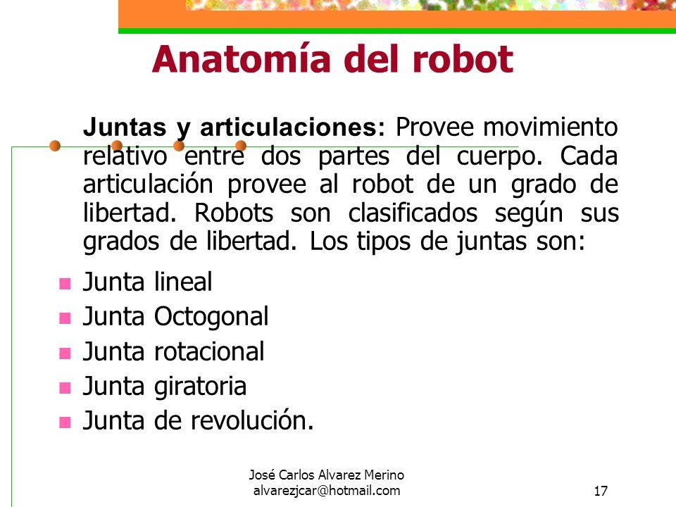 José Carlos Alvarez Merino alvarezjcar@hotmail.com17 Anatomía del robot Juntas y articulaciones: Provee movimiento relativo entre dos partes del cuerp