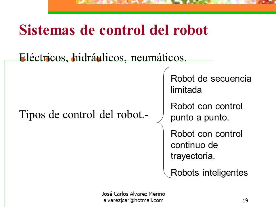 José Carlos Alvarez Merino alvarezjcar@hotmail.com19 Sistemas de control del robot Eléctricos, hidráulicos, neumáticos. Tipos de control del robot.- R