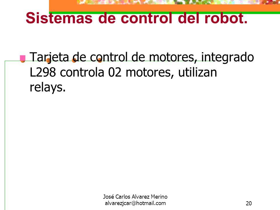 José Carlos Alvarez Merino alvarezjcar@hotmail.com20 Sistemas de control del robot. Tarjeta de control de motores, integrado L298 controla 02 motores,