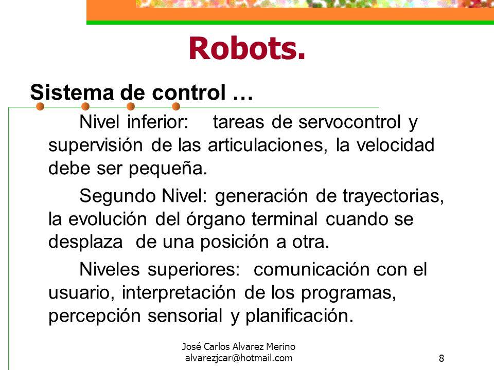 José Carlos Alvarez Merino alvarezjcar@hotmail.com8 Robots. Sistema de control … Nivel inferior: tareas de servocontrol y supervisión de las articulac