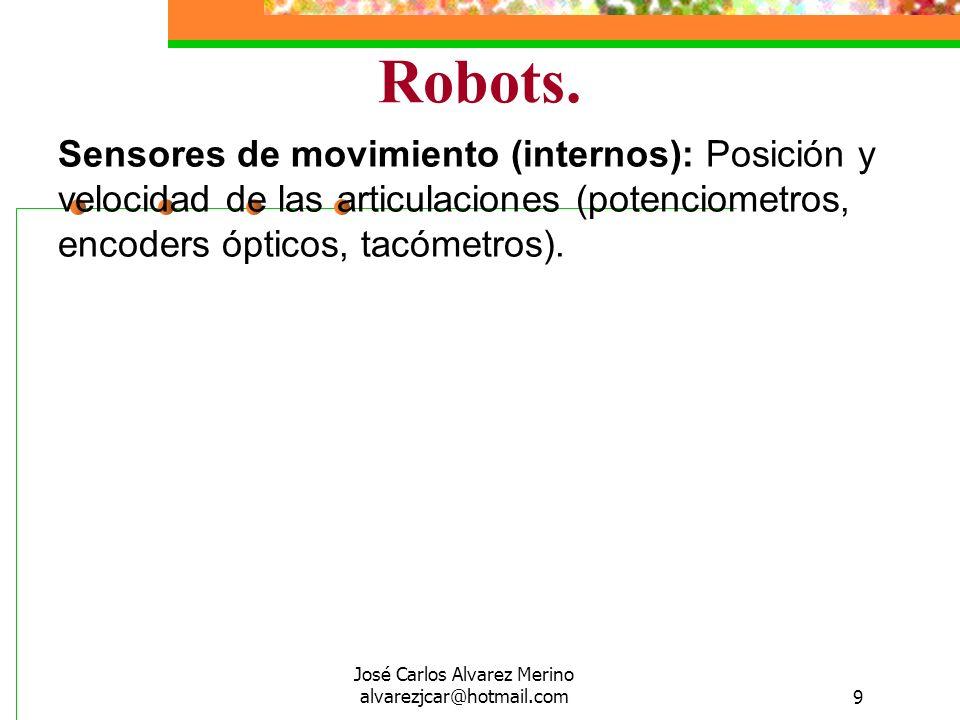 José Carlos Alvarez Merino alvarezjcar@hotmail.com9 Robots. Sensores de movimiento (internos): Posición y velocidad de las articulaciones (potenciomet