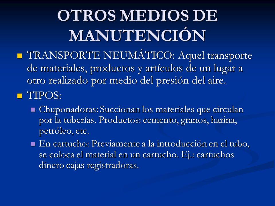 OTROS MEDIOS DE MANUTENCIÓN TRANSPORTE NEUMÁTICO: Aquel transporte de materiales, productos y artículos de un lugar a otro realizado por medio del pre