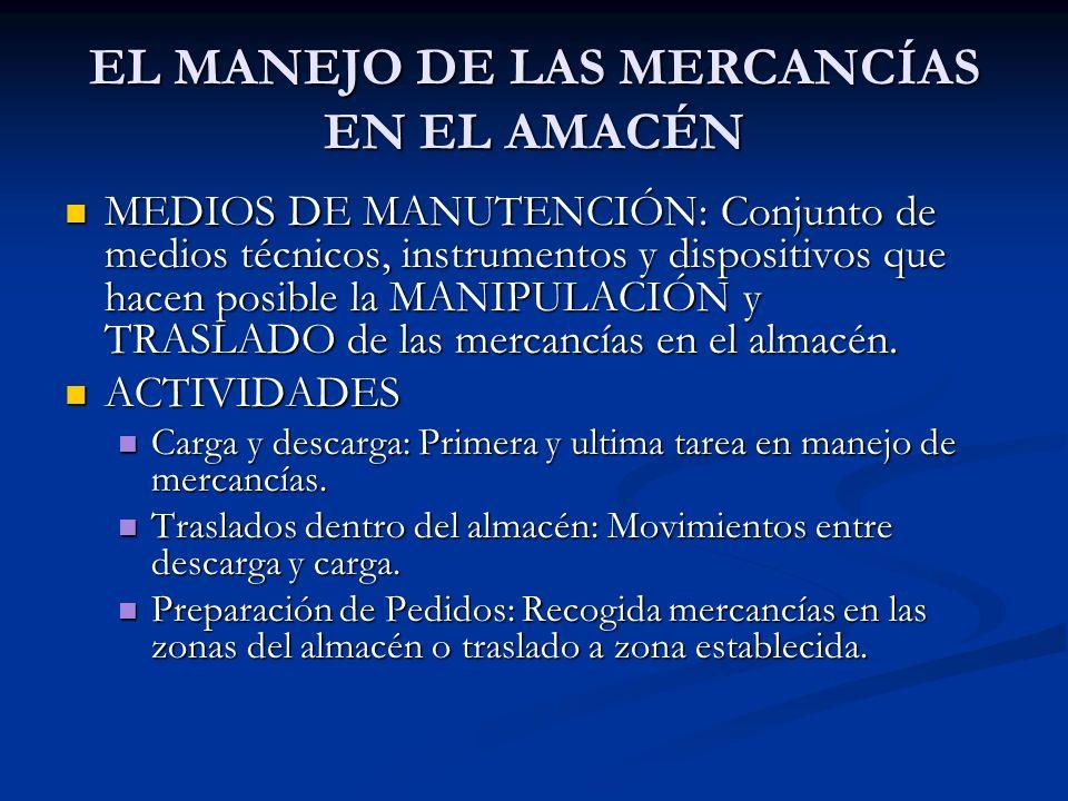 EL MANEJO DE LAS MERCANCÍAS EN EL AMACÉN MEDIOS DE MANUTENCIÓN: Conjunto de medios técnicos, instrumentos y dispositivos que hacen posible la MANIPULA