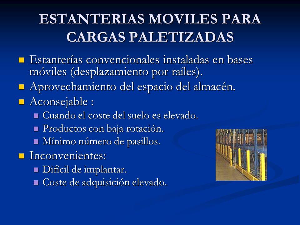 ESTANTERIAS MOVILES PARA CARGAS PALETIZADAS Estanterías convencionales instaladas en bases móviles (desplazamiento por raíles). Estanterías convencion