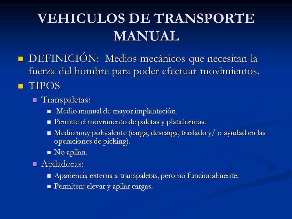 VEHICULOS DE TRANSPORTE MANUAL DEFINICIÓN: Medios mecánicos que necesitan la fuerza del hombre para poder efectuar movimientos. DEFINICIÓN: Medios mec