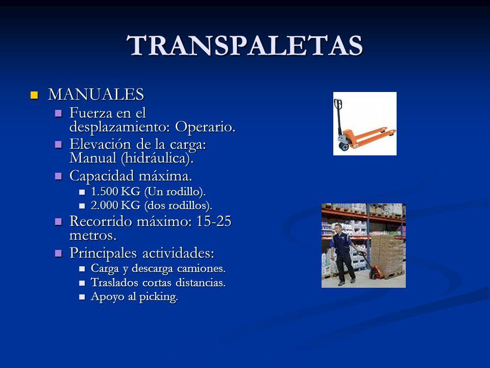 TRANSPALETAS MANUALES MANUALES Fuerza en el desplazamiento: Operario. Fuerza en el desplazamiento: Operario. Elevación de la carga: Manual (hidráulica