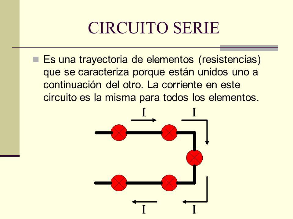 CIRCUITO SERIE Es una trayectoria de elementos (resistencias) que se caracteriza porque están unidos uno a continuación del otro. La corriente en este