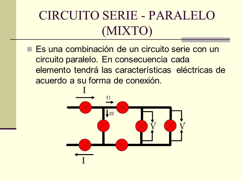 CIRCUITO SERIE - PARALELO (MIXTO) Es una combinación de un circuito serie con un circuito paralelo. En consecuencia cada elemento tendrá las caracterí