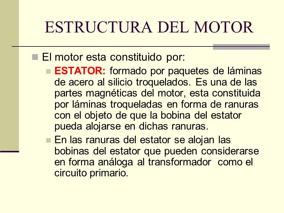 ESTRUCTURA DEL MOTOR El motor esta constituido por: ESTATOR: formado por paquetes de láminas de acero al silicio troquelados. Es una de las partes mag
