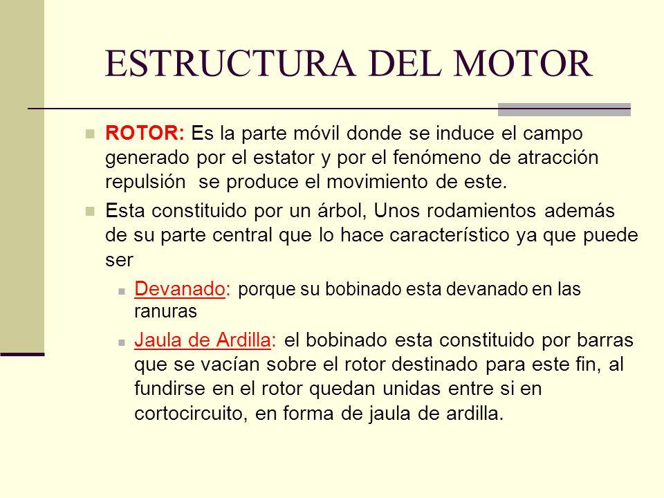 ESTRUCTURA DEL MOTOR ROTOR: Es la parte móvil donde se induce el campo generado por el estator y por el fenómeno de atracción repulsión se produce el