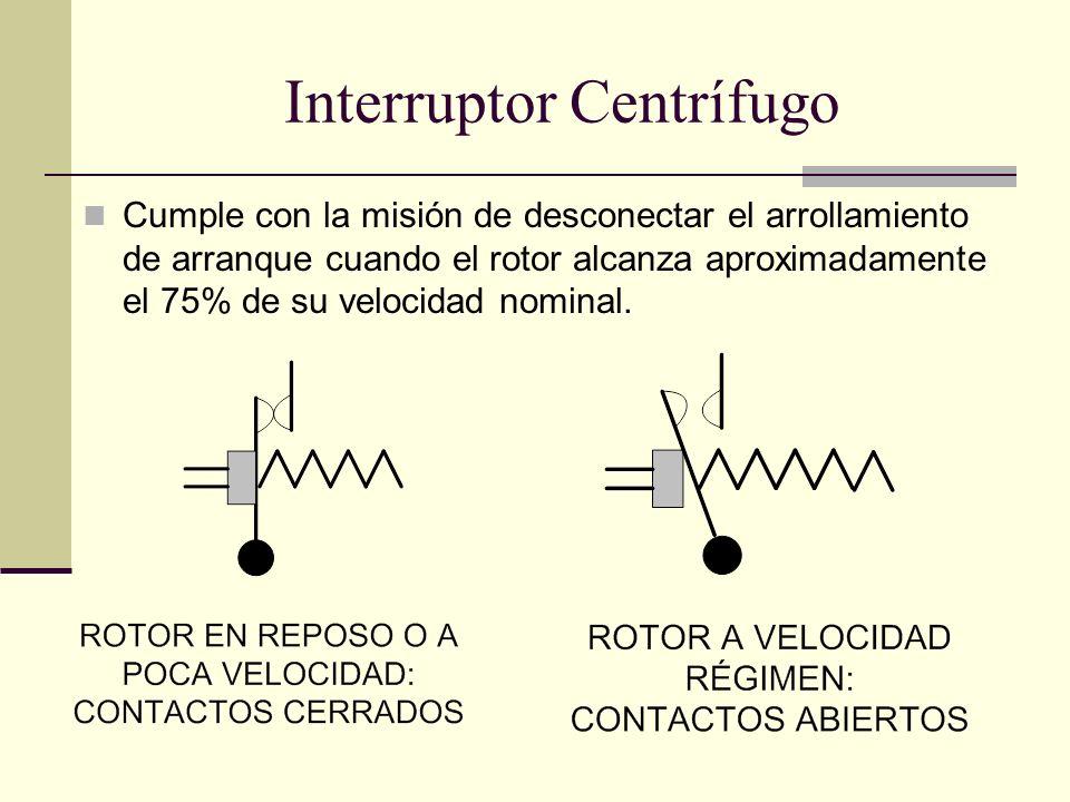Interruptor Centrífugo Cumple con la misión de desconectar el arrollamiento de arranque cuando el rotor alcanza aproximadamente el 75% de su velocidad