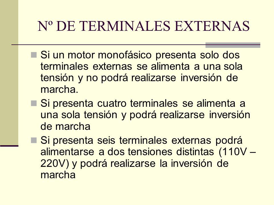Nº DE TERMINALES EXTERNAS Si un motor monofásico presenta solo dos terminales externas se alimenta a una sola tensión y no podrá realizarse inversión