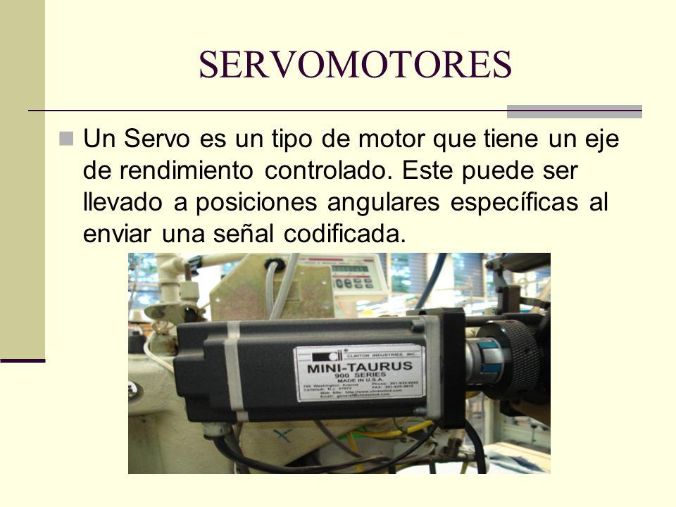 SERVOMOTORES Un Servo es un tipo de motor que tiene un eje de rendimiento controlado. Este puede ser llevado a posiciones angulares específicas al env