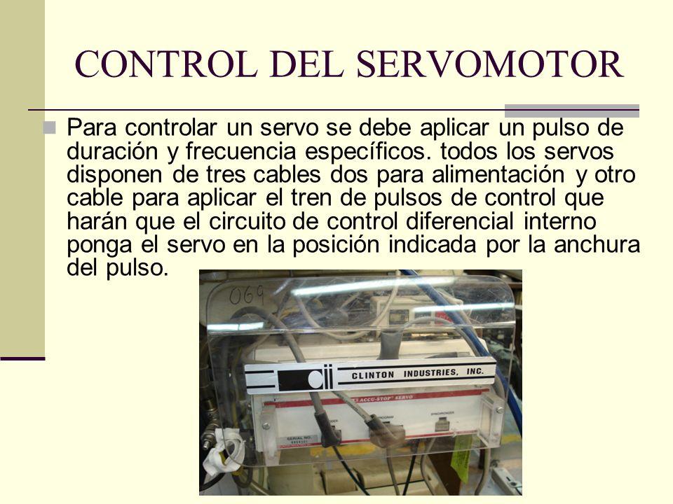 CONTROL DEL SERVOMOTOR Para controlar un servo se debe aplicar un pulso de duración y frecuencia específicos. todos los servos disponen de tres cables