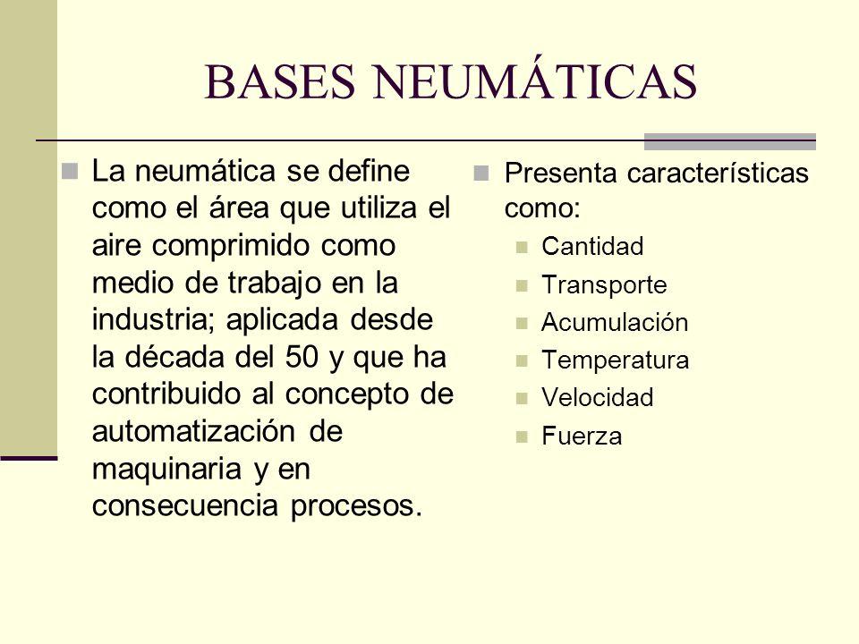 BASES NEUMÁTICAS La neumática se define como el área que utiliza el aire comprimido como medio de trabajo en la industria; aplicada desde la década de